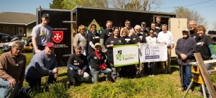 Order of Malta volunteer team with homeowner, Mr. Donald on final day of their build week. Photo credit to Janenne C. Declouet Photography